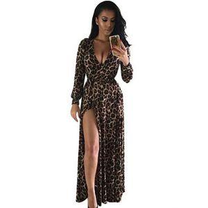 Leopard Print Sexy Slim-Fit Split African Mopping Dress Dress Women 2020 Summer