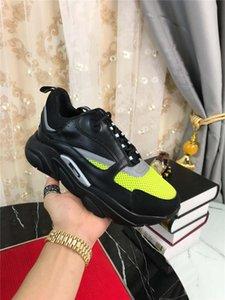 2019DR HOMME B22 giallo nero della scarpa da tennis tecnici Knit vitello Trainer Sneakers con la scatola originale