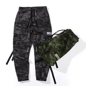 HTLB Men Pockets Cotton  Cargo Pants Men Patchwork Casual Jogger Fashion Tactical Trousers Tide Harajuku Streetwear Pant