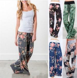Kadın Rahat Rahat pijama pantolon Geniş Bacak İpli Palazzo Salonu Pantolon yazdır Çiçek