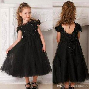 검은 꽃 소녀 드레스 페르시는 고딕 양식의 웨딩 꽃 아플리케 꽃 명주 차 길이 화동 드레스를 3D