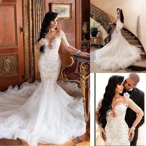 2020 nuovo sexy africano Dubai abiti da sposa puro Scoop maniche lunghe abiti di cerimonia nuziale Backless 3D pizzo abito da sposa