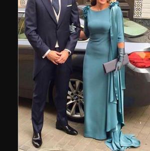 Teal Mavi Abiye 2021 Anne Gelin Elbise Uzun Kollu Sızdırış Kadın Örgün Abiye Vestido De Fiesta de Noche