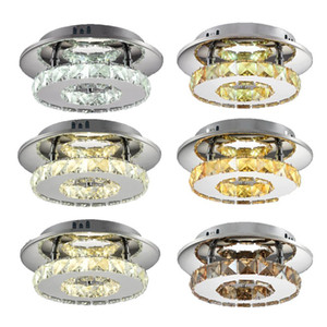 12W LED Round Crystal Ceiling Light LED Bedroom Ceiling Light Round Corridor Light Aisle Lights Simple Modern Restaurant Crystal Lights