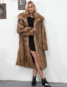 Piel de imitación de capa de las mujeres del diseñador del invierno Moda espesado caliente de la solapa de las chaquetas manera ocasional capas largas Ropa