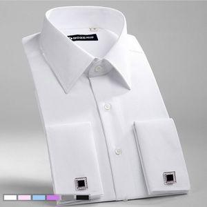 Männer Slim Fit Französisch Manschettenknöpfe Hemd Bügelfrei-langärmliger Baumwoll Male Tuxedo Shirt Formal Mens Dress Shirts mit Französisch Manschetten Y200408