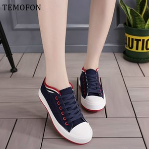 TEMOFON gündelik kadınlar Rahat siyah beyaz klasik Kanvas ayakkabılar bağcıklı Bayanlar spor ayakkabı ayakkabı Chaussure HVT658 MX200425