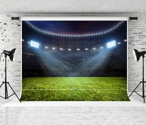 Sonho 7x5ft Football Stadium Fotografia Fotografia Backdrop Campo de Futebol Luz de Fundo de Noite para Esportes Tema Decoração Do Partido Foto Shoot Prop