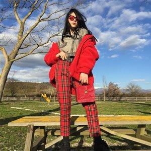 Macheda estate delle donne casuale di nuovo modo Pantaloni Abbigliamento Plaid femminile Harem Fit pantaloni delle donne 2018 nuovo rosso Abbigliamento casual Pantaloni Y191205