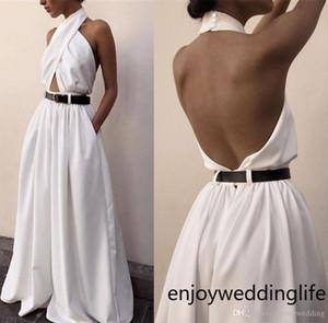 Moda Mulheres Branco Sexy Jumpsuit Backless Halter Long Neck Moda Branca macacãozinho com bolsos Vestidos frete grátis 2632