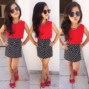 Pudcoco 2020 Girl Clothing Sets Kids Dot Toddler Girl Red Sleeveless Tank Tops+ Dot Skirt Children Clothes