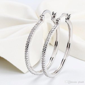 High quality 925 Sterling Silver Big Hoop Earring Full CZ Diamond Fashion bad girl Jewelry Party Earrings