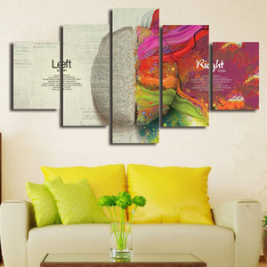 홈 장식 프레임이없는 벽 아트 5 조각 / 설정 인쇄 포스터 회화의 창조적 인 뇌 왼쪽 오른쪽 해부학 캔버스