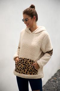 Fashion-Patchwork Pullover Long Sleeve Zipper Sherpa leopard Sweatshirt Soft Fleece Hooded Outwear with Pocket Tops Hoodie coat LJJA3149