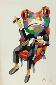 동물 아트 개구리 예술 w / 캔버스 벽 예술 사진 200,706에 시가 홈 인테리어 지에 handpainted HD 인쇄 유화