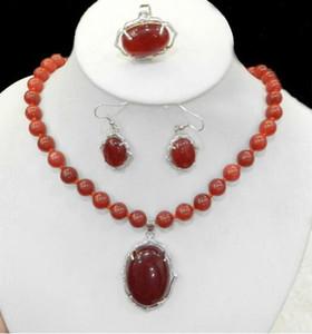 Jewelryr perles d'une nouvelle naturel Charme rouge rubis pierres précieuses Collier Bague Boucle d'oreille Parures Livraison gratuite