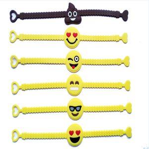 Festa de aniversário Pawliss Emoji Pulseiras Pulseira favores Suprimentos para crianças Emoticon da menina Brinquedos Prêmios presente Rubber Band Bracelet BHN07