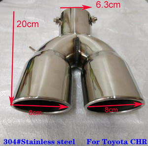جودة عالية كاتمون السيارات الفولاذ المقاوم للصدأ، مخرج أنابيب العادم الديكور، كاتم الصوت لتويوتا شارك C-HR 2016-2020