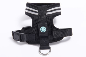 LED Light Pet Chest Strap Harnesses Luminous Pet Chest Strap Mesh Vest Dog Chest Strap for Outdoor Easy Control Red Black 10PCS