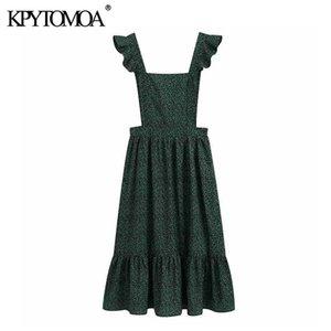 KPYTOMOA donne 2020 di modo elegante stampa floreale della bretella Vestito longuette Piazza Vintage collare increspato cinghia femminile Abiti Vestido