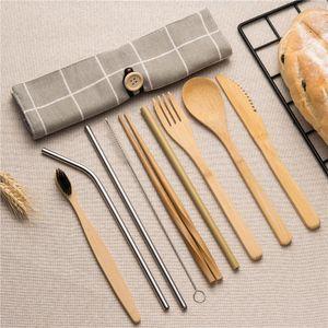 Conjunto de Vajilla de bambú Set de cubiertos de madera con el paño de paja bolsa de viaje Cuchara de madera Cuchillo Tenedor de vajilla mayorista
