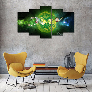 Quadro Modern Wall Art Poster Decoração 5 Painel Rick E Morty Sala Canvas HD Imprimir Modular Pictures T200323 Pintura