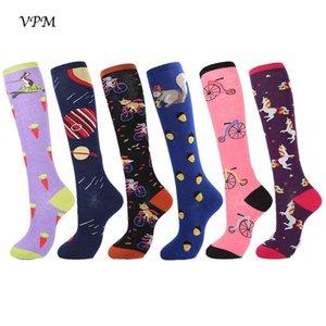 VPM coton Cuissardes femmes longues chaussettes de Harajuku coloré drôle Kawaii mignon licorne planète écureuil Sock pour cadeau