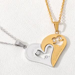 Kalp boğan Salkım I Love U Paslanmaz Kolye Çift Kalp Aşıklar Kristal Kolye için Arkadaş Broken 2 adet / Seti Çift