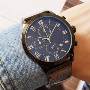 Relógios de luxo para homens marca de moda Quartz Tommy todas as funções do relógio Metal Mesh Strap Chronograph Watch Alta Qualidade deisgner relógio à prova d'água