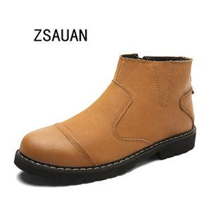 ZSAUAN Fashion Autumn Men Work Boots Top Quality Business Ankle Boots Male Brown Leather Zipper Casual Shoes Drop Shipping