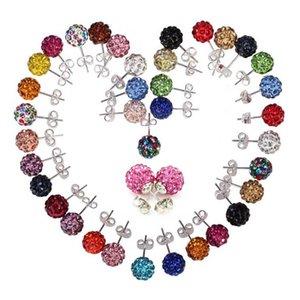 Earrings Shamballa Stud Earring Hot Sale Silver 10mm Clay Disco Ball Studs Earrings Fashion Jewelry Wholesale Free Shipping - 0004WH