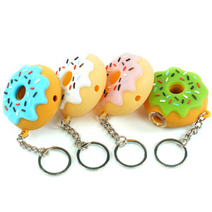 Donut Style hand Pipe Silicone small Oil Burner Pipes Handcraft spoon pipe Pyrex Smoking Pipes with keychain and glass bowl wholesale
