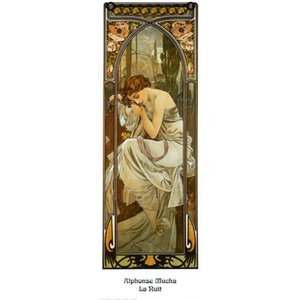 Modern art Night A Alphonse Mucha figure Oil painting Romantic woman picture for living room decor