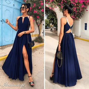 2020 Arabic Aso Ebi Navy Blue Cheap Evening Dresses Chiffon Backless Beach Prom Dresses A-line Formal Party Second Bridesmaid Gowns ZJ224