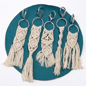 OOTDTY Tassel Keychain for Women Boho key Holder Keyring Macrame Bag Charm Jewelry Gift Toy