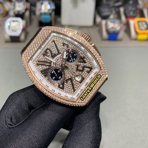 Melhor versão MEN'S COLLECTION V 45 CC DT IATE Diamond Dial Japão VK Quartz Chronograph Mens Watch Rosa de Ouro Diamante Designer Luxo Watche