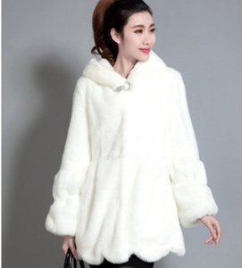 winter 2019 New Overcoat Hooded Faux Fur Collar Coat Prippy Style Long Mink Stret Plus Sim Cat AW309