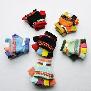 kapak eldivenlerle Kış Çocuk Eldiven Sıcak Bebek Boys Kız Eldivenler Çocuklar Örme Patchwork Kalınlaşmak Eldiven ılık yarım parmaksız