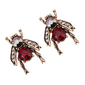 Оптово модный моды роскошь дизайнер преувеличены мило прекрасный кристалл пчелы насекомые животное серьги стержня для женщины