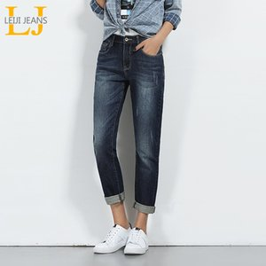 LEIJIJEANS Hot Spring Vente Taille Plus Mustache Effet Ripped Blanchi mi taille Femmes Cadrage droite Stretch Jeans 5640