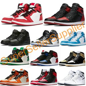 Nike air jordan 1 shoes Basketball Shoes Chaussures de basket-Top qualité Banned Bred 1s Triple Noir Blanc Bleu Royal TOP Designer Taille Sport Sneakers 36-45