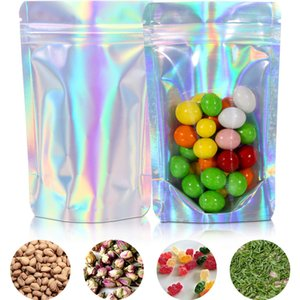 Flat Zip lock Bath Salt Cosmetic Bag One Side Clear Holographic Laser storage bag Mini Aluminum Foil Zip Lock Plastic Bags Thick