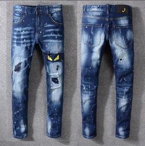 Erkek Uzun Kot 2019 Yeni Varış Moda Hip Hop Popüler Baskı Uzun Pantolon Erkek Fermuar Streç Pantolon Fermuar Çok tarzı Çok renkli