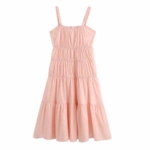 2020 women prairie chic solid pleated sling midi dress female elastic spaghetti strap vestidos back zipper casual dresses DS3821