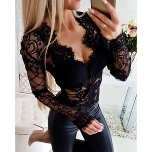 Sexy Black Women Clothing V Neck Bodysuit See Through Long Sleeve Rompers Jumpsuits Femme Mesh Lace Bodycon Playsuit SJ2642U