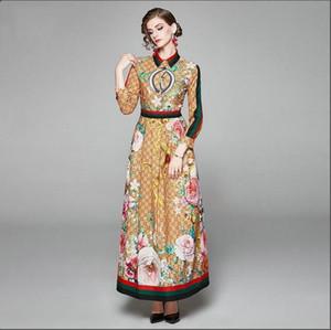 2020AA летний дизайнер вечернее платье отворот с длинным рукавом шваброй Формальное вечернее платье вскользь семьи роскошный высокое качество ткани с длинным рукавом платье