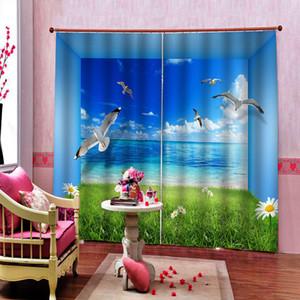 Custom 3D Seascape Space landscape Photo Curtain Digital Print For Living Room Bedroom Blackout Window Drapes Indoor Decor Sets