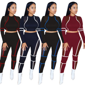 dikiş spor takım elbise Örgü şeffaf seksi bayanlar kadın için ince uygun uzun kollu eşofman oymak