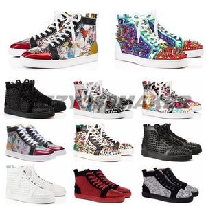 2020 дизайнер кроссовки Красный Нижний ботинок высокого покроя шипованные Шипы роскошные туфли для мужчин и женщин обувь партия свадьба Кристалл кожаные кроссовки