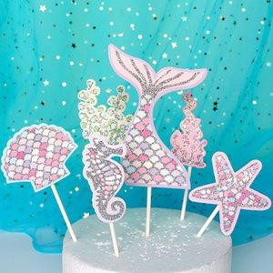 Biling Gold Pink Silver Star Fishtail Shell Starfish Seahorse Mermaid Cake Topper for Party Decoration Dessert lovely Gifts